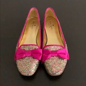 Kate Spade Glitter Bow Flats